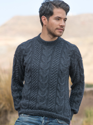 Hand Woven Alpaca Sweater - Charcoal