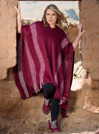 Hooded  Burgundy Alpaca Poncho for Women
