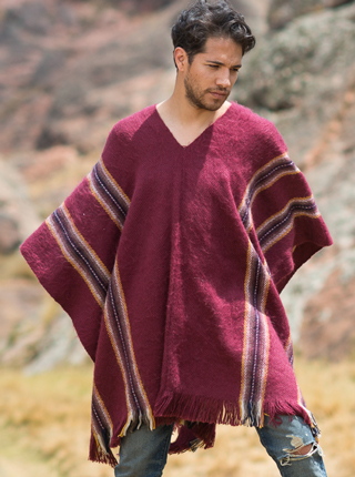 Burgundy Alpaca Poncho for Men