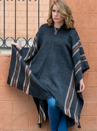 Hooded Charcoal Rustic Poncho for Women