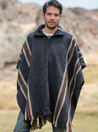 Charcoal Alpaca Poncho for Men