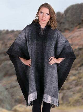Gray Alpaca Poncho for Women