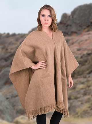 Beige Alpaca Poncho for Women