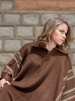 Brown Alpaca Poncho for Women