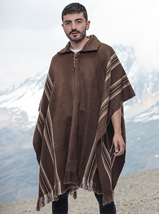Brown Alpaca Poncho for Men