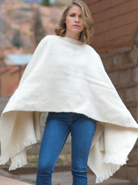 White Alpaca Poncho for Women