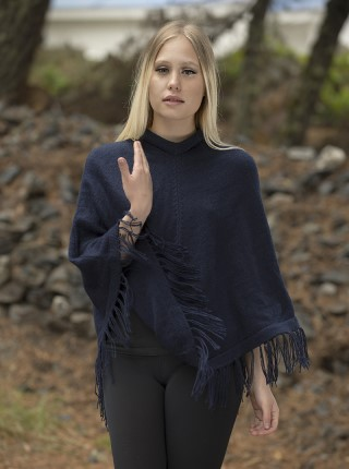 Blue Soft Alpaca Poncho - Daiquiri