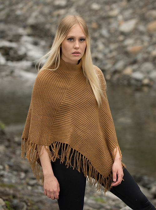 Rhombus brown soft poncho