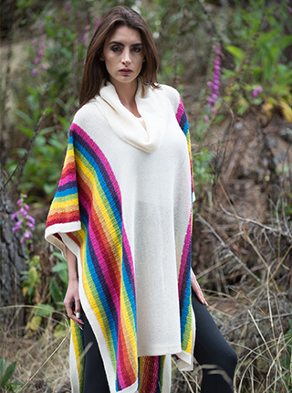 Alpaca Multicolor Long Poncho -  Vacacocha