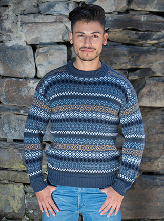 Alpaca Blue and brown tones Sweater - Corrientes