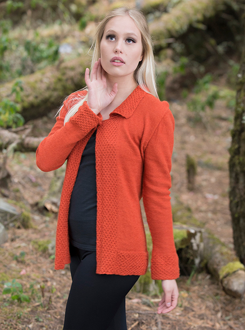 Orange Alpaca Cardigan - Mandarina