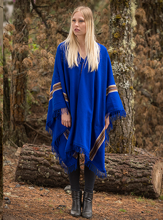 Blue Alpaca Poncho - Magic