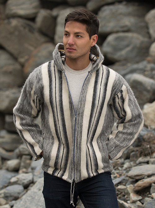 Gray and White Warm Alpaca  Jacket - Chacaltaya