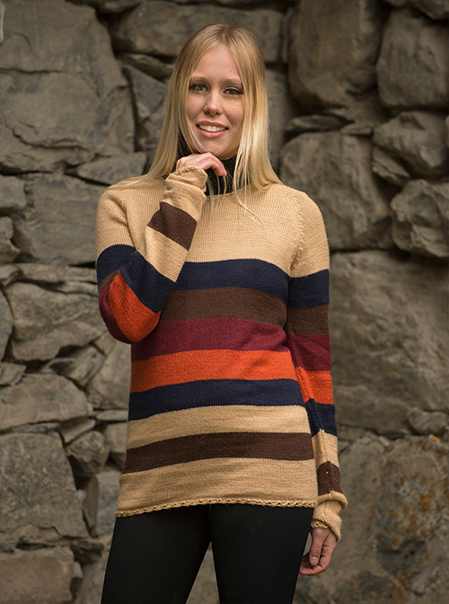 Brown, Blue and Orange Soft Alpaca Sweater - Loja