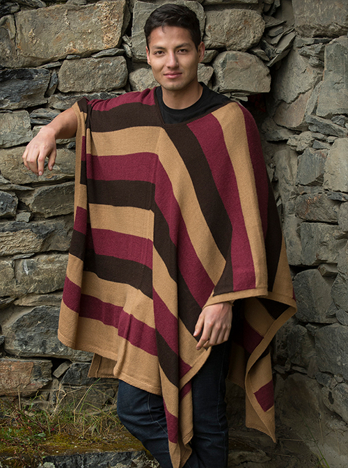 Brown, Beige and Violet Soft Poncho Alpaca - Achachairu
