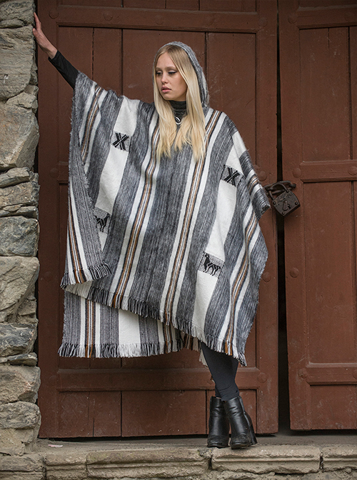 Gray and White Large Alpaca Poncho - Arequipa