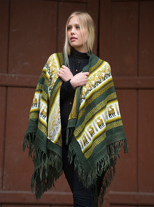 Green with Andean Designs Soft Alpaca Ruana  - Caliri