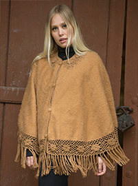 Brown Soft Alpaca Poncho - Cachi