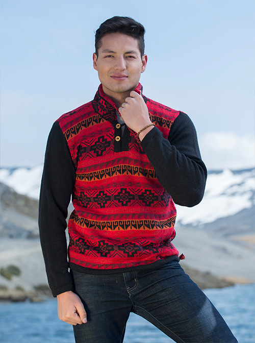 Black and red alpaca sweater - Power
