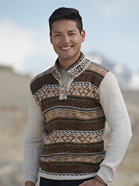 Brown and White Alpaca Sweater - Pampa