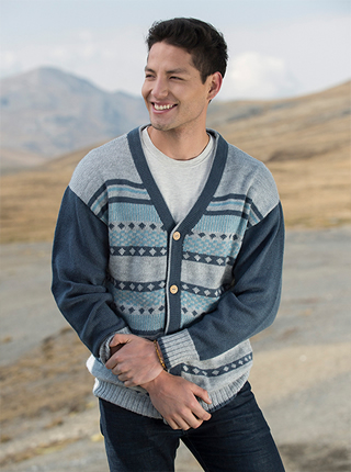 Blue and Gray Alpaca Cardigan - Nieve