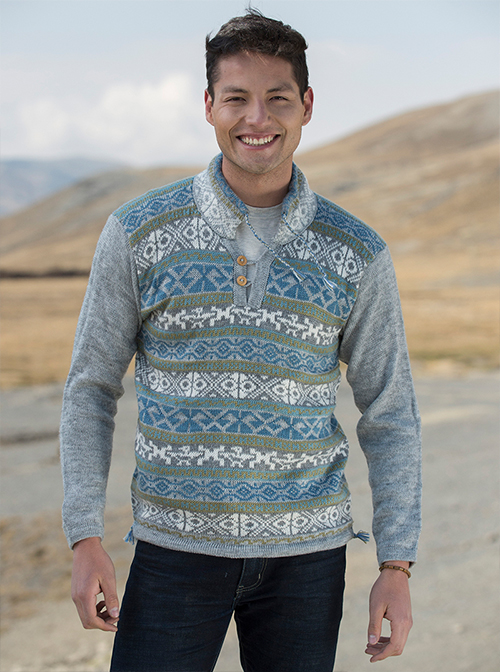 Blue and Gray Warm Alpaca Sweater - Urubamba