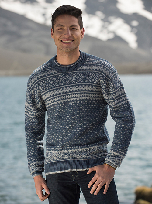 Blue and Gray Soft Alpaca sweater - Mountain range