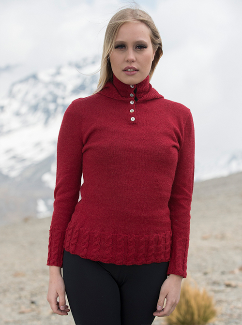 Red Elegant Alpaca Hoodie sweater - Love
