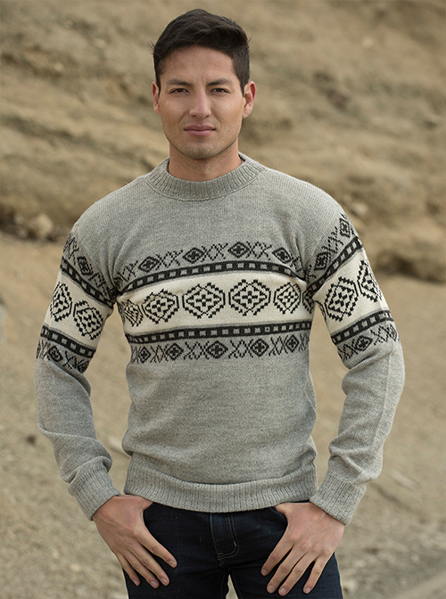 Gray Designed Alpaca Sweater - Coroico