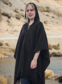 Black Soft  Hooded Alpaca  Poncho  - Rio Negro