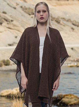 Brown Reversible Alpaca Chal - Cantarina