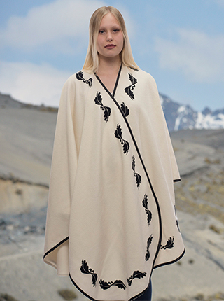 White Flower Embroidery Alpaca Cape  - Leonardo