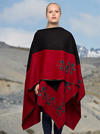 Black and Red Flower Embroidery Alpaca Cape - Sandia