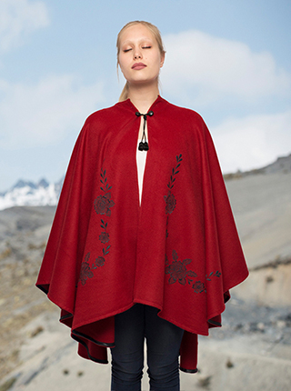 Red Flower Embroidery Alpaca Cape  - Wayra