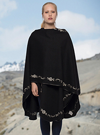 Black Flower Embroidery Alpaca Cape - Obelisco