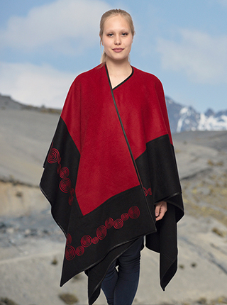 Black and Red Flower Embroidery Alpaca Cape - San Pedro