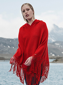 Red Soft Hooded Alpaca Poncho  - Gladiolo