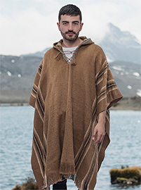 Brown Hooded Alpaca Poncho - Montebajo