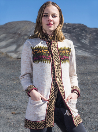 White Long Cardigan with Andean Design