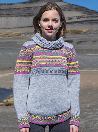 Grey Alpaca Turtleneck with Andean Design