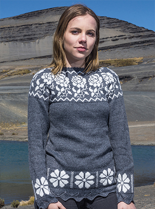 Grey Alpaca Sweater with white flowers