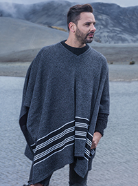Grey V neck Poncho with Horizontal Lines
