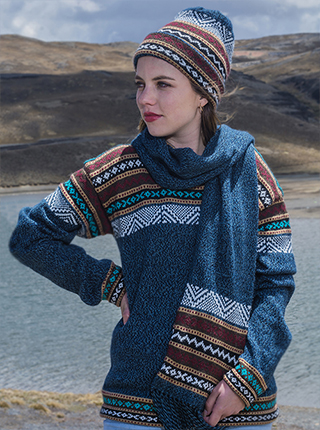 Blue Alpaca Sweater with Andean design