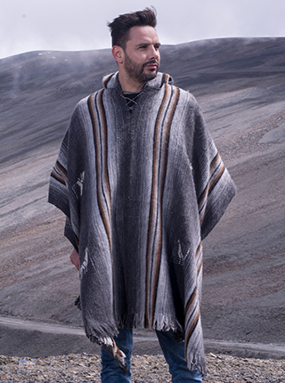 Charcoal Hooded Poncho with Brown Stripes