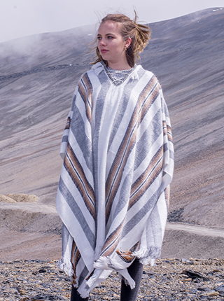 White and Grey Hooded Poncho with Brown Stripes