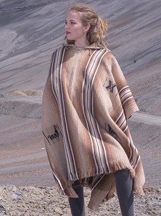 Brown Hooded poncho With Stripes