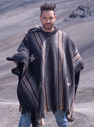 Black Hooded Poncho with Brown Stripes