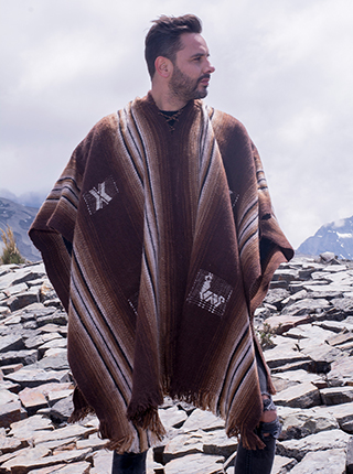 Brown Hooded Ponchos with Stripes and Llamitas