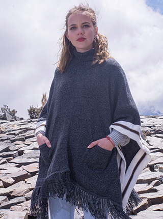 Grey Turtleneck Poncho with White Stripes