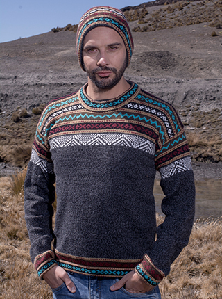 Grey Alpaca Sweater with andean design